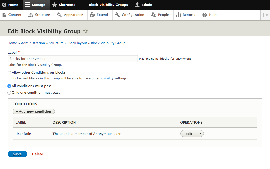 Drupal8のBlock visibility group